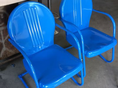 sandblasted and powder coated in blue outdoor chairs